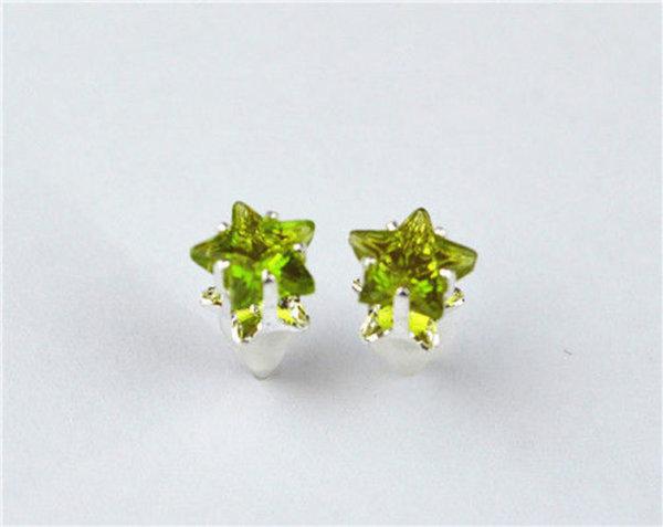 auskarai žalios žvaigždutės