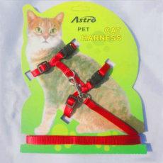 Katės pavadėlis su petnešomis raudonas