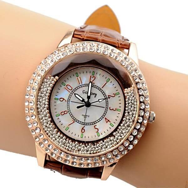 Moteriškas kvarcinis laikrodis su cirkonio kristalais ir odine apyranke