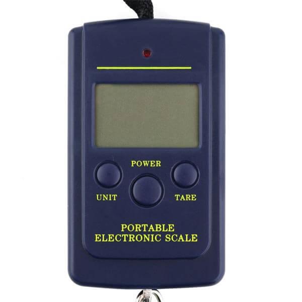 Rankinės, pakabinamos elektroninės svarstyklės su kabliu, sveriančios iki 40 kg / 10 g tikslumu