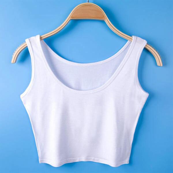 Seksualūs trumpi balti moteriški marškinėliai be rankovių