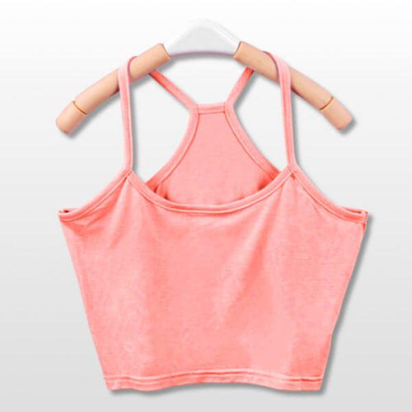 Seksualūs trumpi kreminės spalvos moteriški marškinėliai Y formos petnešėlemis