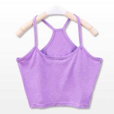 Seksualūs trumpi šviesiai violetiniai moteriški marškinėliai Y formos petnešėlėmis